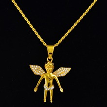 Shamty New Fashion Pure Gold Color Chain Hip-hop Angel Necklace Jewelry Trendy For Men Hiphop Pendant Necklaces Free shipping