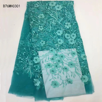 High Quality French Bead Lace Fabric,teal Latest African Mesh Tulle Lace Fabric 5Y,flower Nigerian Guipure Lace Fabric D76WH03