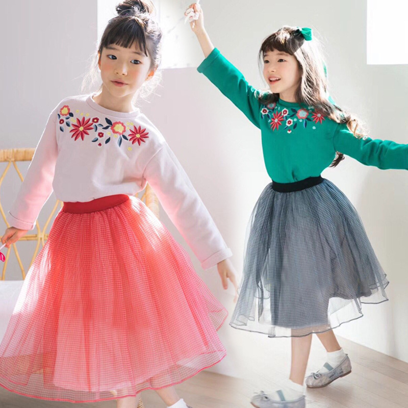 New Spring Autumn Girls Long Sleeve Rose Floral Embroidery Clothing Sets Kids 2 Pcs Clothes Fashion Elegant Skirt Suits CC816 floral embroidery plain knee length skirt