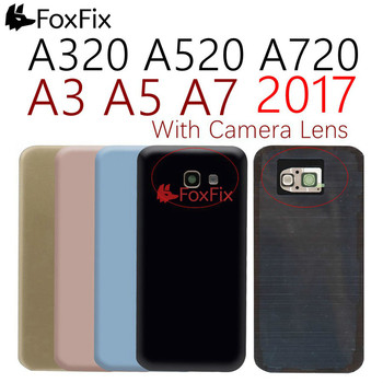 For SAMSUNG Galaxy A3 A5 A7 2017 Back Glass Battery Cover A320 A520 A720 Back Glass Rear Door Housing Case With Camera Lens image