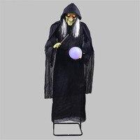 Большая ведьма настольные лампы ведьма Холдинг светящийся шар украшения-ужастики для хеллоуина реквизит колдовские украшения жуткие глаз...
