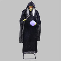 Large Witch Decor Stand Witch Holding the Glowing Ball Halloween Decoration Horror Props Witch Ornaments Creepy Eyes Ghost Doll