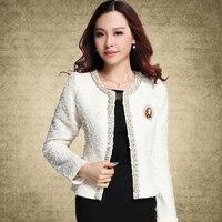 Blazer for Women Coats 2019 Autumn Vintage Diamonds Feminino Jackets Formal Lady Suit Office Work Wear Top Cardigans White,Black