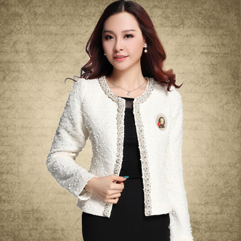Blazer for Women Coats 2018 Autumn Vintage Diamonds Feminino Jackets Formal Lady Suit Office Work Wear Top Cardigans White,Black