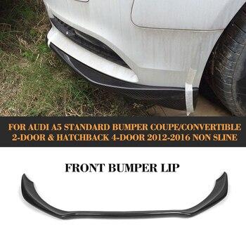 A5 carbon fiber front bumper Lip Spoiler diffuser lip for Audi A5 standard And Convertible Only 12-16 Non S line Black FRP jc 20130709 1