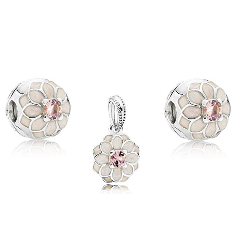 925 Sterling Silver Sets Romantic Bloom Dahlia Bead Fits European Style Charm Bracelet & Necklace DIY Jewelry Charms Beads sterling silver 925 fits chamilia charms bracelet motorcycle sports design charm beads european style women diy jewelry