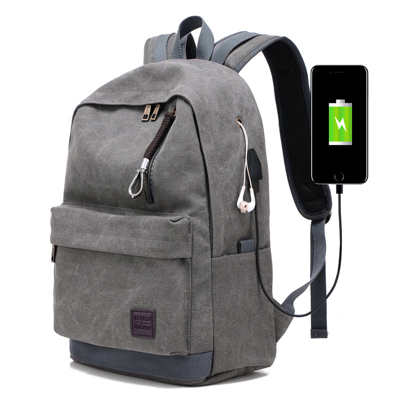 Men USB Backpack Vintage Canvas For Teenage Boys School Bags Large Travel Business Bag Rucksack Charging Back Pack Brown XA2114C