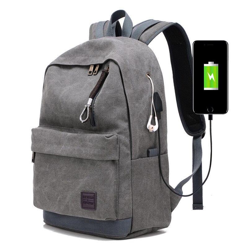 Vintage USB Chargeing Canvas Backpack For Teenage Girls Boys School Bags Large Travel Bag Rucksack Brown Backpacks XA2114C