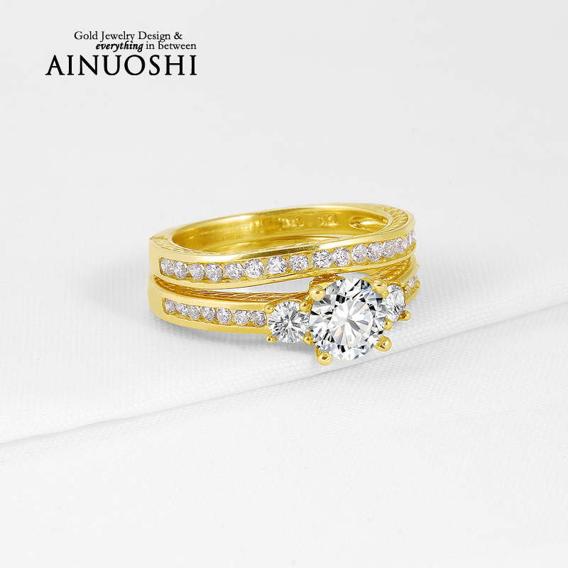 Genuine 10K Yellow Gold Rings Round Cut Sona Simulated Diamond Ring Sets Wedding Engagement Rings for Women Fine Jewelry Gift