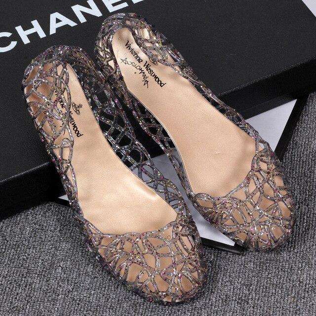 2019 donne di estate sandali traspirante scarpe della gelatina di cristallo nido di cristallo sandali femminili piatto scarpe sandalo donna 9.5