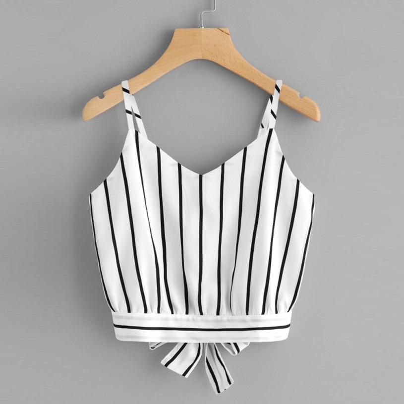 Feitong Summer Sexy Crop Tops Women Self Tie Back V Neck Striped Crop Cami Top Camisole feminina Halterneck Tank Tops Short Vest