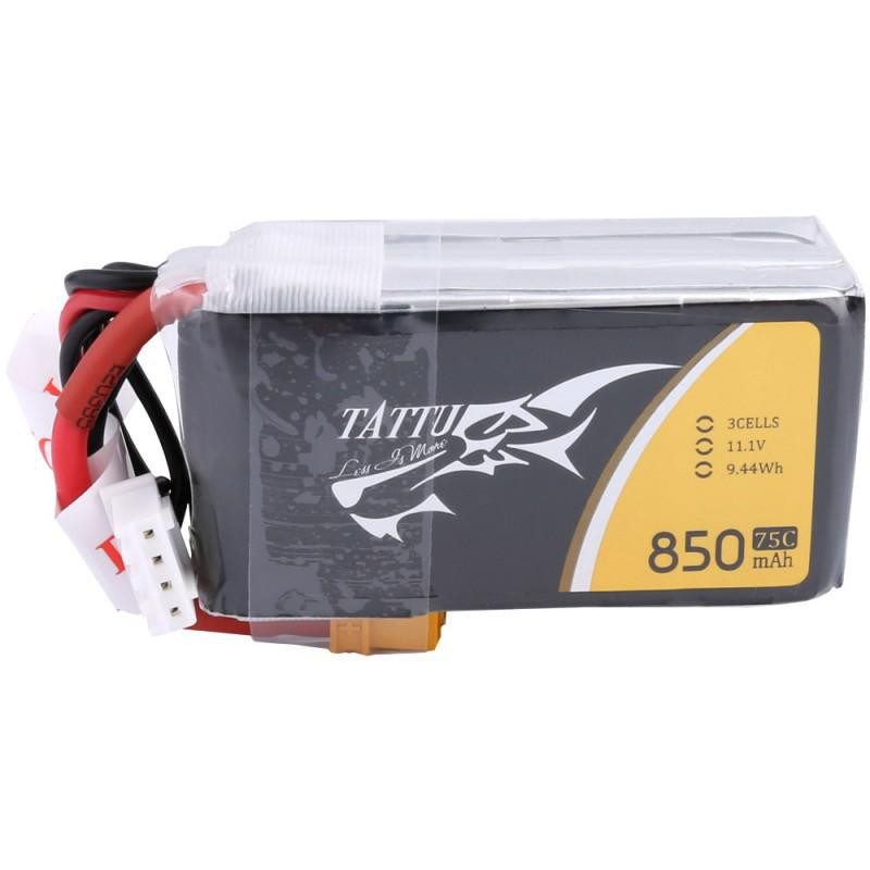 LeadingStar ACE TATTU 11.1V <font><b>850mAh</b></font> 75C 9.44Wh <font><b>3S</b></font> 1P Lipo Battery XT30 Plug image
