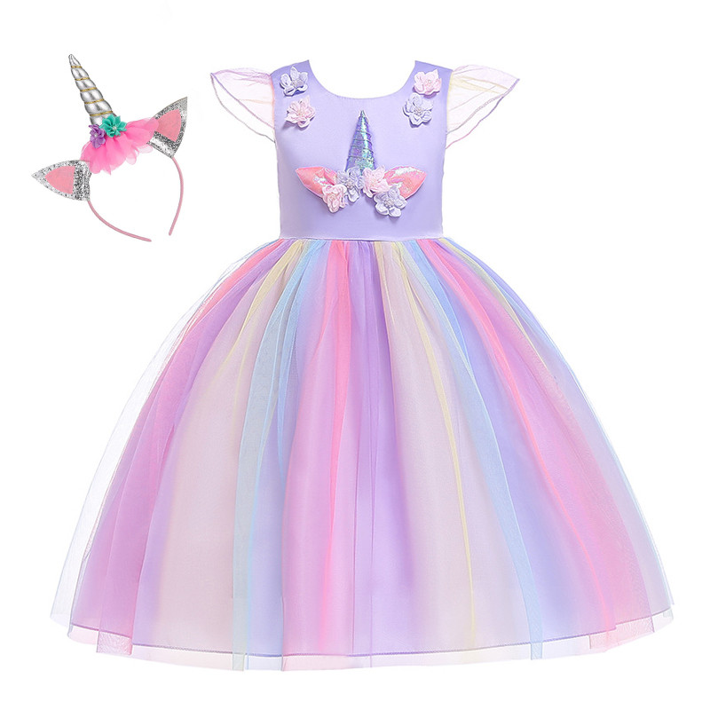 Ainclu Girl Unicorn Dress Up Kids Flying Sleeve Rainbow Party Dancing Tutu Dress Girls Christmas Pageant Tulle Cosplay Costume