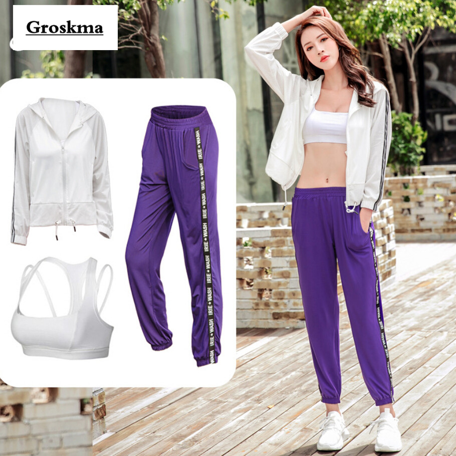 2018 Autumn winter women training set mesh coats+bra+pants quick dry fitness gym yoga 3 pieces sets outdoor sportswear clothing-in Yoga Sets from Sports & Entertainment    1