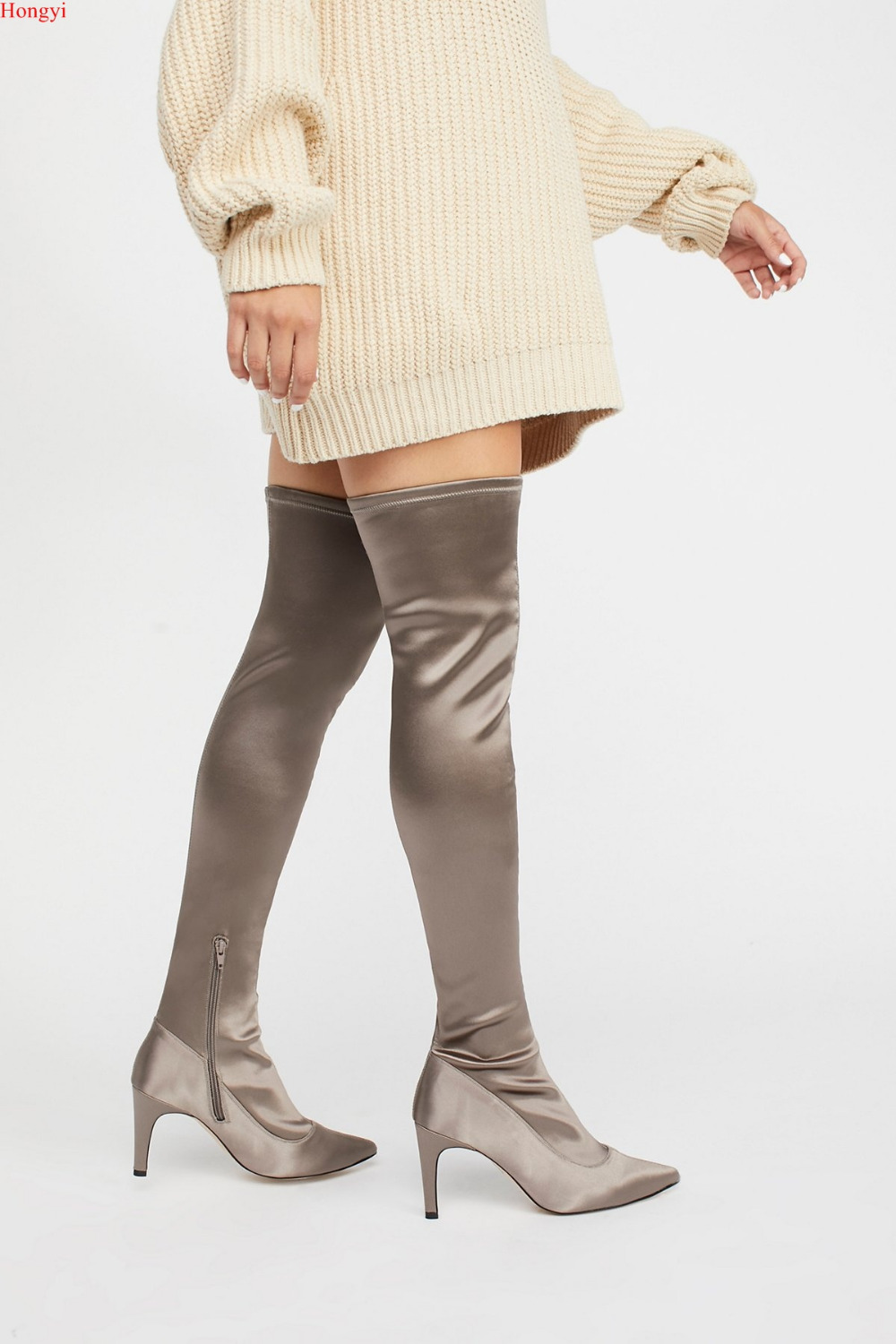 2017 Winter High Quality Satin Fabric Over The Knee Pointed Toe Boots Women Thigh High Thin heeled Slim Fit Gladiator Booty