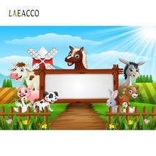 Laeacco Baby Cartoon Safari Farm Filed Animals Happy Birthday Party Poster Photo Backdrops Backgrounds Studio