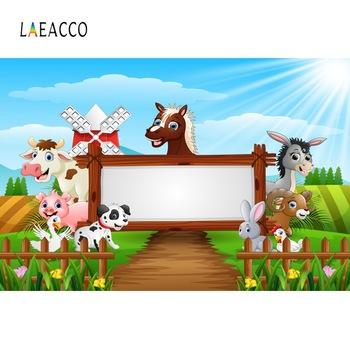 Laeacco Baby Cartoon Safari Farm Filed Animals Happy Birthday Party Poster Photo Backdrops Backgrounds Studio