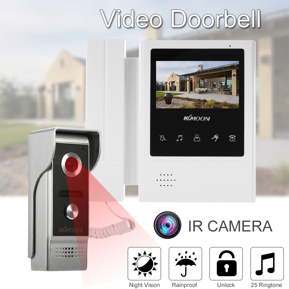 KKmoon 4.3 Inch LCD Monitor Wired Video Intercom Doorbell Kits Support Two way Audio Rainproof  Video Door Phone Intercom System-in Video Intercom from Security & Protection    1