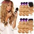 Honey Blonde Ombre Raíces Oscuras de Color #27 Onda Del Cuerpo Del Pelo Brasileño Paquetes de Pelo Con Cierre de Cordones Virgen Del Pelo Humano T1b/27 #