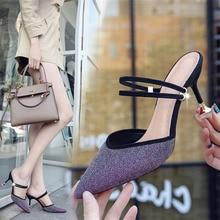 Women Pumps Ankle Strap Thin Heel 2019 Shoes Women Square Toe Mid Heels Dress Work Comfortable Ladies Shoes Size 35-39 недорого