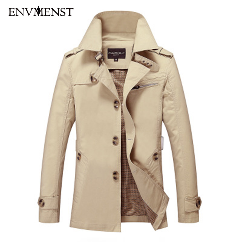 Envmenst 2018 New Fashion Men Solid Color Single Breasted Trench Coat Men Casual Slim Long Woolen Cloth Aunumn Winter Coat