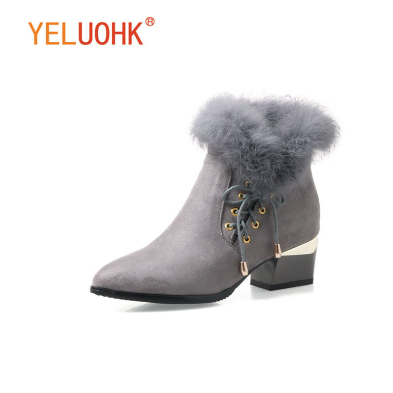 34 43 Ankle Boots For Women High Heel Women Winter Boots Plush Women Boots Winter Shoes