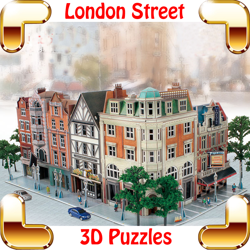New Arrival Gift Jigscape London Street 3D Puzzle Model Building DIY Streetscape Souvenir Present Assemble Game Toys Decoration