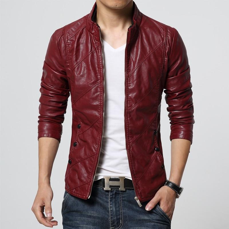 Autumn Soft Faux Leather Jackets Men 2018 Fashion Solid Slim Fit ...