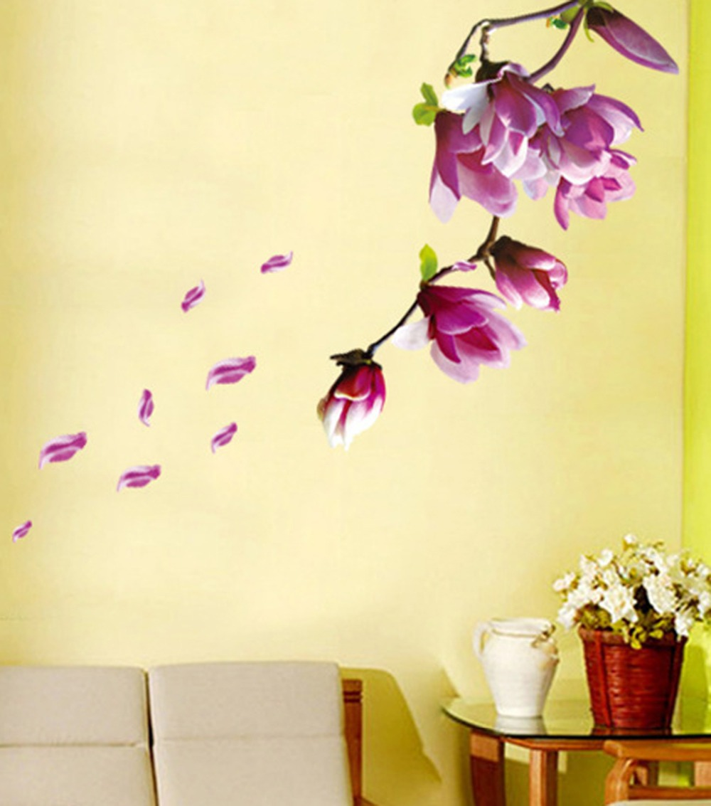 Flower Wall Decals Bedroom PVC Wall Arts DIY Decorative Background ...
