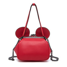 Fashion Red Color Mini Shell Top-Handle Bags Cute Mouse Ears Cartoon Tote Women's Small Chain Crossbody Bags For Girls