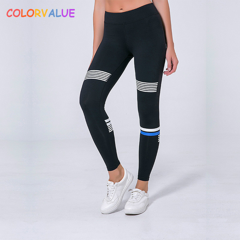 Colorvalue High Waist Striped Fitness Leggings Women Stretchy Nylon Gym Workout Tights Squatproof Yoga Sport Ankle-Length Pants colourvalue anti sweat peacock printed yoga pants women stretchy fitness foot tights elastic high waist workout sport leggings