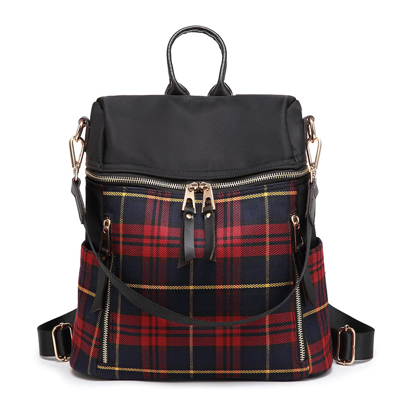 AMONCHY New Fashion Plaid Women Backpacks Brand Designer Student Backpack Oxford Female Shoulder Bags With Leather Casual Trip in Backpacks from Luggage Bags