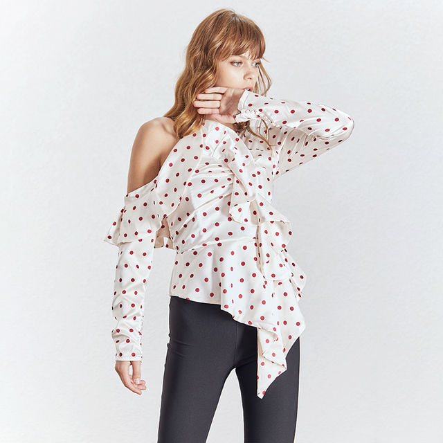 TWOTWINSTYLE Elegant Polka Dot Women Blouse Off Shoulder Puff