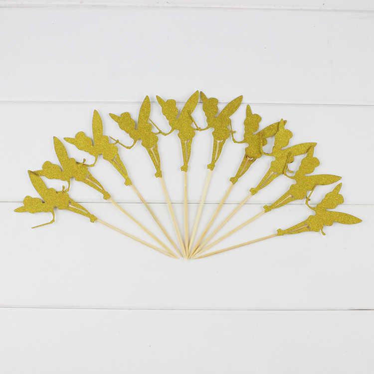 10 шт. очаровательны крыльями эльф фея Динь-Динь украшение для кекса принцесса Тинкербелл мероприятие, товары для вечеринки, дня рожденья украшения