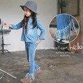 Primavera Outono Coreano Moda Borlas de Roupas Meninas das Crianças Calça Jeans Boot Cut Denim Calças Infantis Calças Criança Roupas Adolescente
