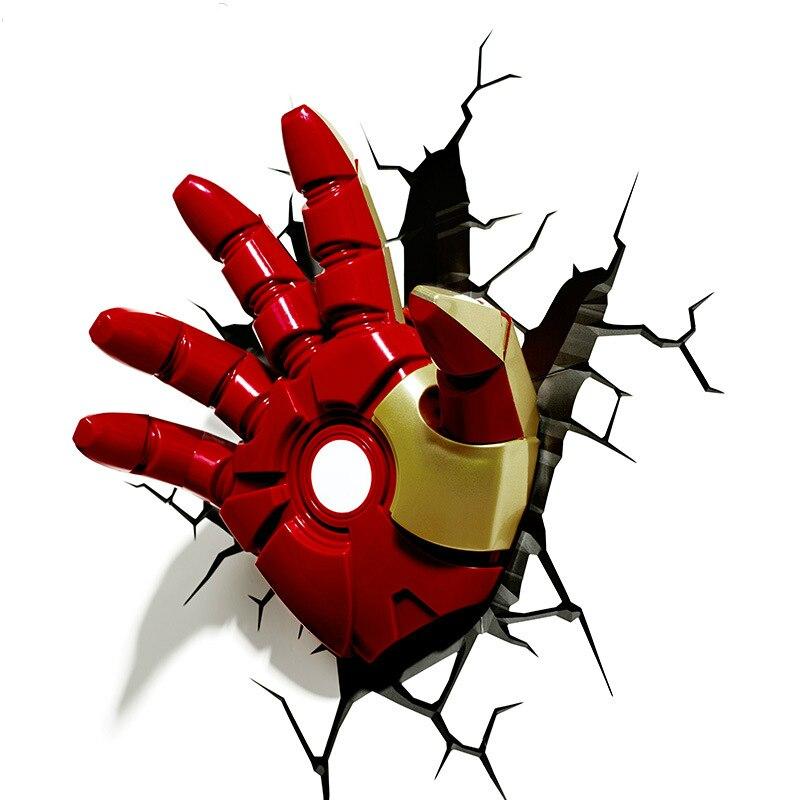 3D main de fer homme Avengers Creative applique murale lumière LED chambre chevet lumière personnalité veilleuse maison de nouveauté cadeau
