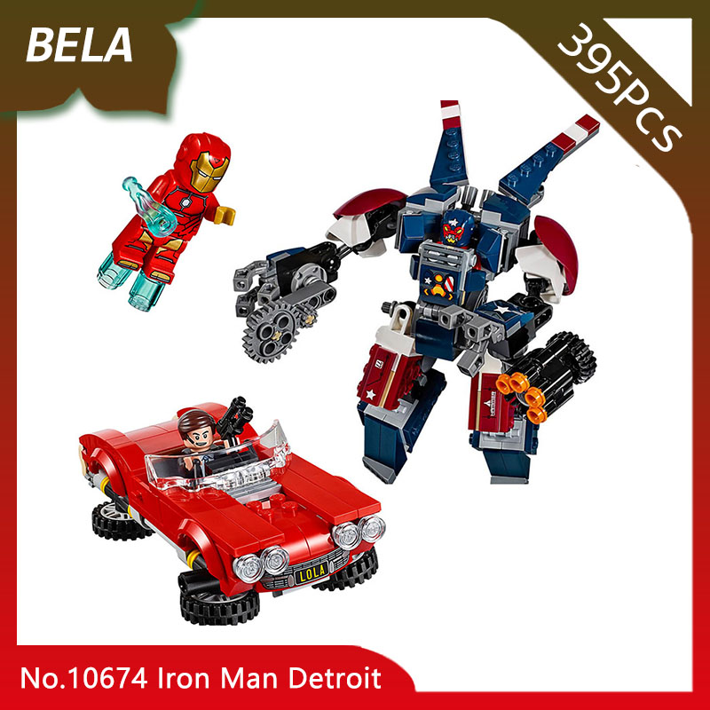 Bela 10674 Super Heroes 395pcs Iron Man Detroit Steel Strikes Coulson Building Blocks Bricks Toys for Kids gift Compatible 76077