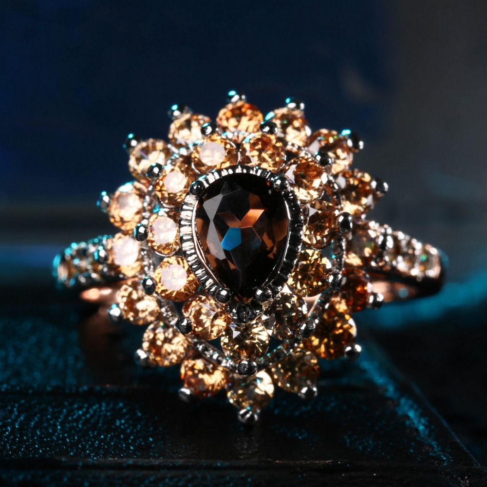 ZHE FAN Brown Coffee Synthetic Quartz Crystal Women Ring Rose Gold Color 2 Tone Plated Champagne AAA CZ Luxury Jewelry Wholesale