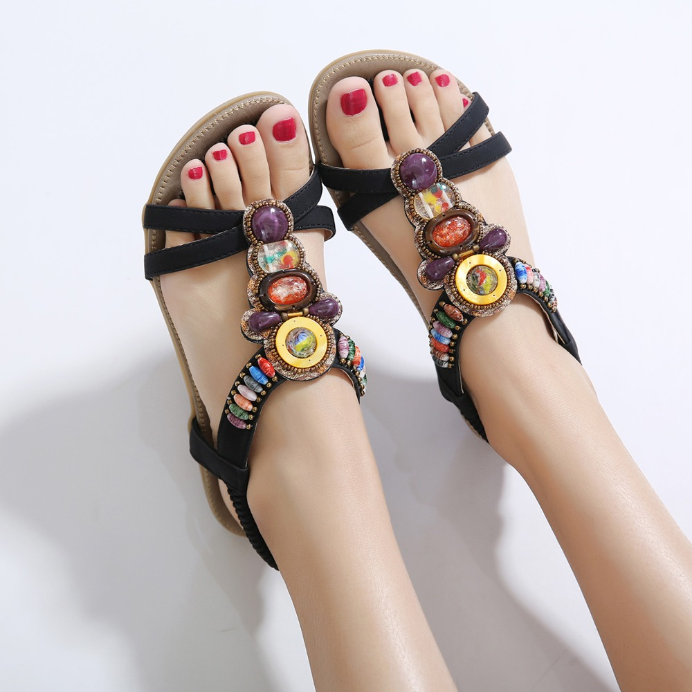 2018 Crystal Chaussure female summer Shoes woman Rhinestones colorful Thong bead Bohemia Flat Sandalias plus size 43 45 in Low Heels from Shoes