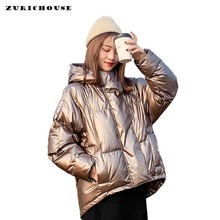 ZURICHOUSE 2020 Winter Down Parka Womens Glossy Hooded Jackets Large Size Winter Warm Thick Parka Loose Coat Winter Women Jacket