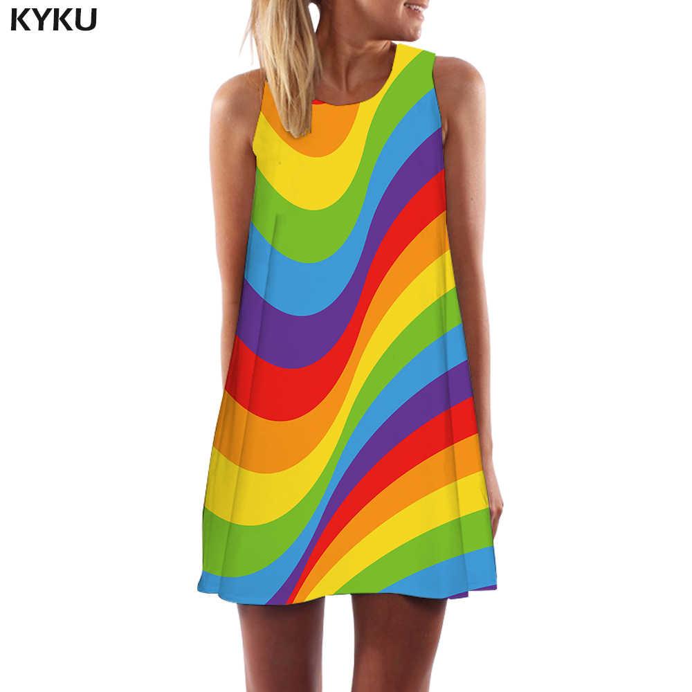 KYKU Gökkuşağı Elbise Kadınlar Renkli Boho Psychedelic Kore Tarzı Graffiti Tankı Baş Dönmesi Vestido Seksi Bayan Giyim Rahat