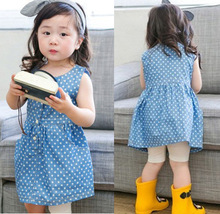 цены Girls Dress 2019 summer new Cotton O-neck Kids Clothes Pleat Dot Sleeveless baby dress 2-3-4-5-6-7 years Baby Girl Clothes