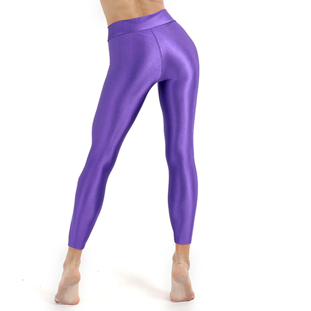 31f4ac4e8 New Fashion Plus Size Solid Fluorescent Leggings Women Push Up Fitness  Leggins Shiny Glossy Trousers Female Elastic Casual Pants