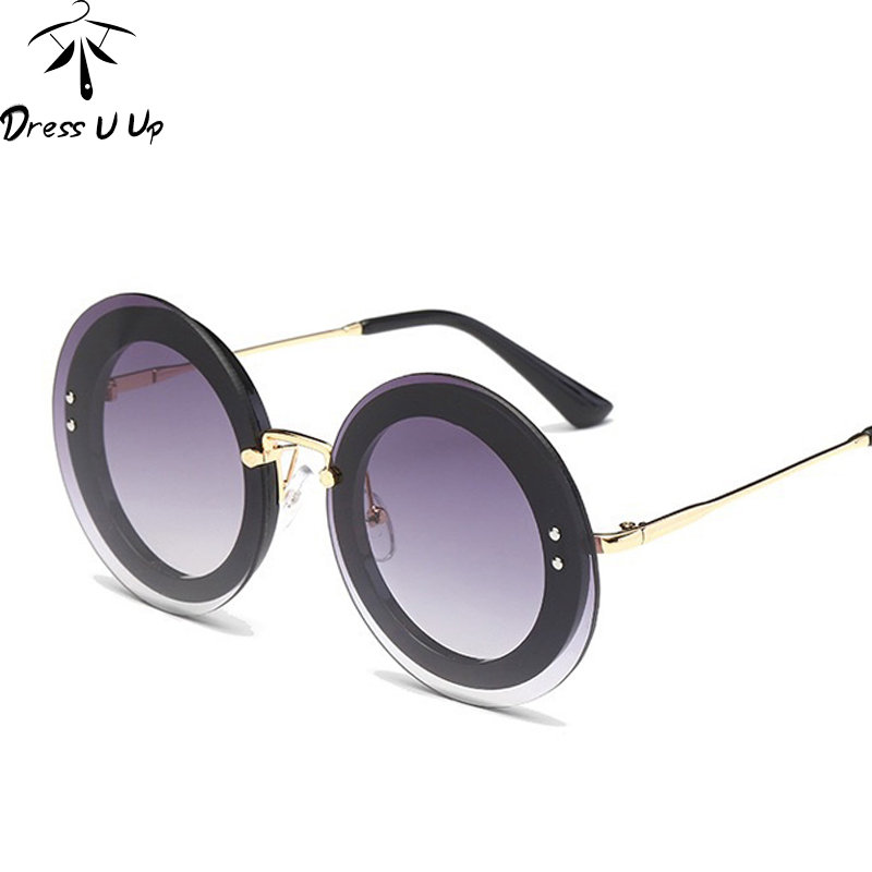 dfd3b122ba7 DRESSUUP Rimless Glitter Sunglasses Luxury Brand Designer Women UV400  Gradient Woman Sun Glasses Shades Female Round Oculos