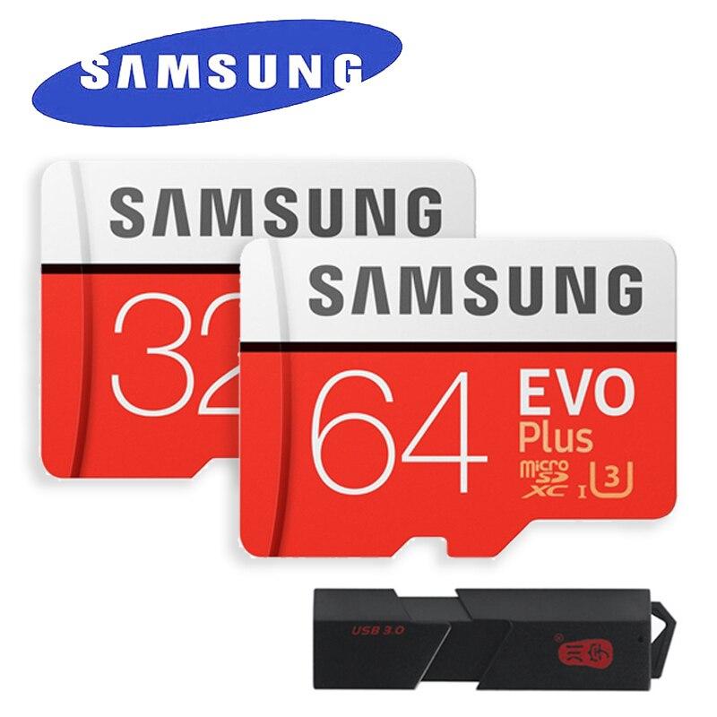 SAMSUNG EVO Plus de Micro SD Class10 100 MB/S UHS-I tarjeta de memoria 32 GB 64 GB 128 GB 256 GB con adaptador y USB3.0 MicroSD y lector de tarjetas SD