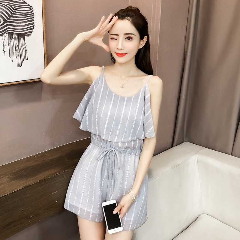Rompers ผู้หญิงชีฟองสูงเอวฤดูร้อน 2019 สไตล์เกาหลีลายสตรี Ruffles Slim หวาน Flare Breathable Elegant