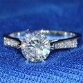 Queen Brilliance 1 Кт F Цвет Свадьба Обручальное Муассанит Бриллиантовое Кольцо С Настоящий Бриллиант Акценты Genuine14K 585 Белое Золото