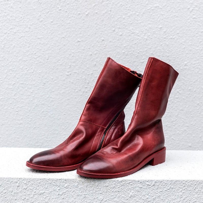Carré Confortable Automne Moto Hauts Chaussures Punk Bout En Classique Red Cheville Talons Black Pointu Rouge Vankaring wine Cuir Véritable Bottes À Femmes S75qTwF8