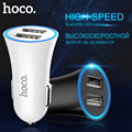 ORIGINAL HOCO Mobile Phone Car Charger Dual USB Charger 2.4A LED Indicator Fast Charge Port for iPhone iPad Samsung S6 S7 Note 7
