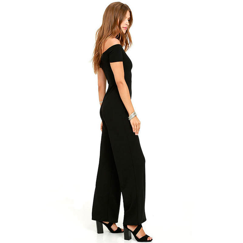 249623d8178 Slash Neck Off the Shoulder Jumpsuit Women Long Pants Romper Black Red Wide  Leg Summer Office Work Formal Jumpsuits Overalls XXL-in Jumpsuits from  Women s ...
